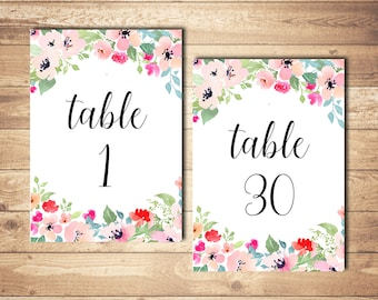 Wedding table numbers printable Wedding numbers Printable table numbers Floral table numbers Floral wedding decor Wedding reception decor