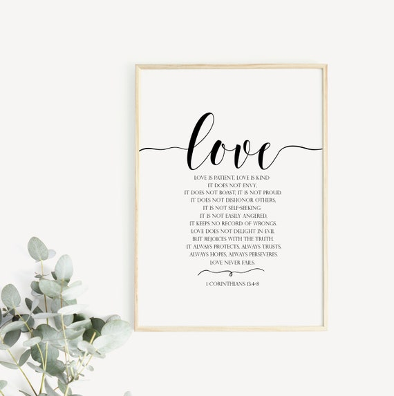 Bible Verse Wall Art Love Is Patient Love Is Kind Love Poster Etsy