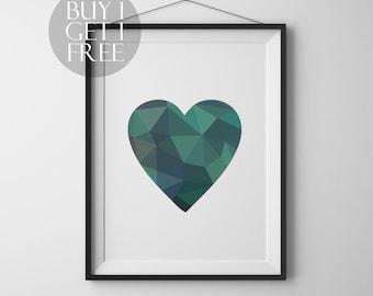 Geometric heart Printable heart poster Modern decor Wall art Love Heart Modern print Geometric poster Heart print Love printable poster