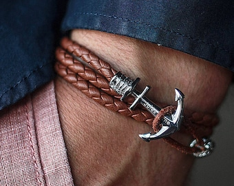 Anchor bracelet, Mens bracelet, Leather bracelet, Bracelet homme, Man anchor bracelet, Bracelet ancre, Anchor bracelet woman, Anker armband
