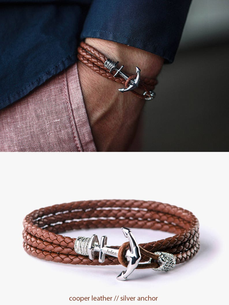 Anchor bracelet Mens bracelet Leather bracelet Bracelet image 0