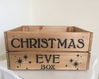 Vintage Style Wooden Christmas Eve Box Crate Storage Gift
