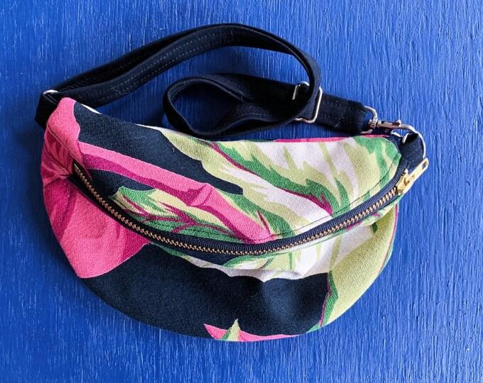 Black Floral & Crossbody Bag