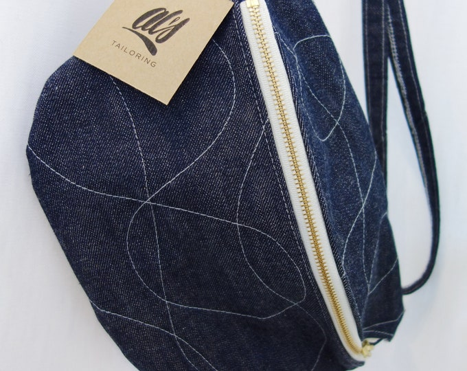 Quilted Denim Monster Hip & Crossbody Bag