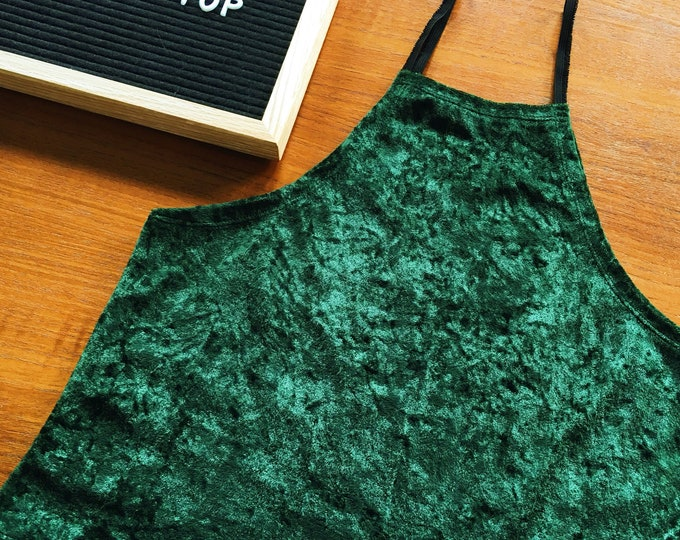 Green Velvet High Neck Tank