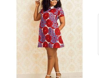 Shift collar dress/ Ankara Dress/ Shift Dress/ African Print/ Ankara Fabric