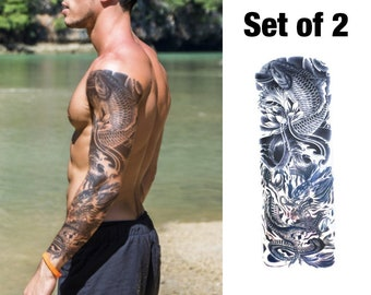 fc2c13b028083 Koi Temporary Tattoo Sleeve for Men Fake Tattoo Sleeve Full Arm Tattoo  Japanese Tattoo Koi Fish Tattoo Tatouage Temporaire Homme Tätowierung