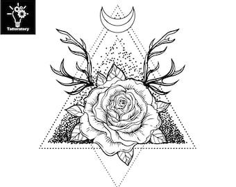 Large Rose Tattoo Etsy