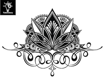 Lotus Fake Tattoo Etsy