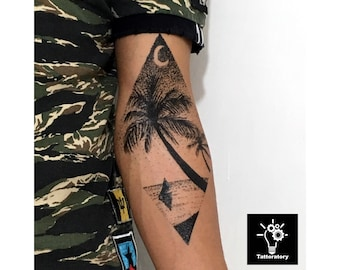 8598893df Palm Tree Tattoo for Forearm, Dotwork Tattoo Palm Tree, Forearm Tattoo Tree,  Tree Temporary Tattoo, Tree Fake Tattoo, Half Sleeve Tattoo