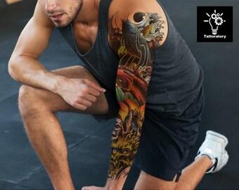ee773c666e42b Koi Temporary Tattoo Sleeve Japanese Tattoo Koi Fish Tattoo Men Temporary  Tattoo Fake Tattoo Sleeve Full Arm Tattoo Faux Tatouage Temporaire