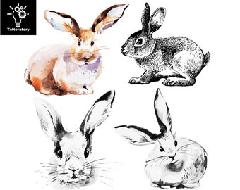 8bd04a2b0 Rabbit Temporary Tattoo Rabbit Tattoo Rabbit Fake Tattoo Bunny Tattoo Cute  Tattoo Animal Tattoo Back Tattoo Wrist Tattoo Kid Tattoo