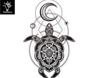 Turtle tattoo | Etsy