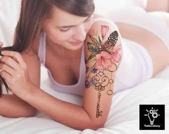 f93416ada Watercolor Temporary Tattoo Watercolor Flower Tattoo Watercolor Tattoo  Large Floral Tattoo Iris Tattoo Peony Tattoo Faux Tatouage Temporaire