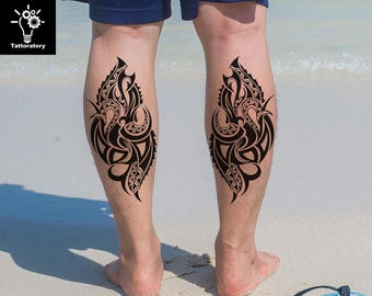 7017c520d33 2 Tribal Temporary Tattoo Tribal Tattoo Polynesian Tattoo Maori Tattoo  Maori Fake Tattoo Leg Temporary Tattoo Men Arm Tattoo Large Tattoo