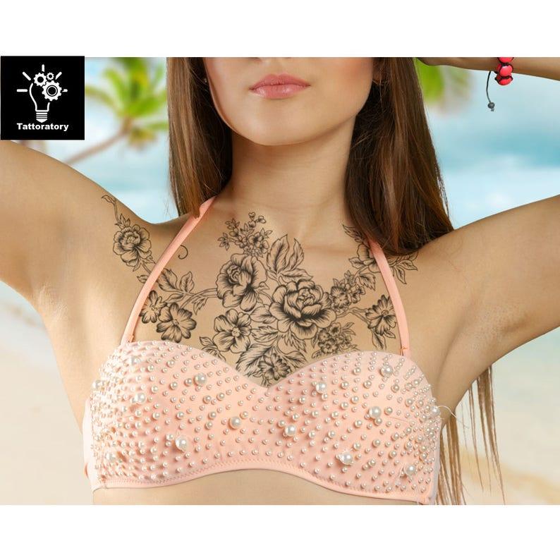 Temporäre Tattoo ärmel Für Frauen Brust Temporäre Tattoo Etsy