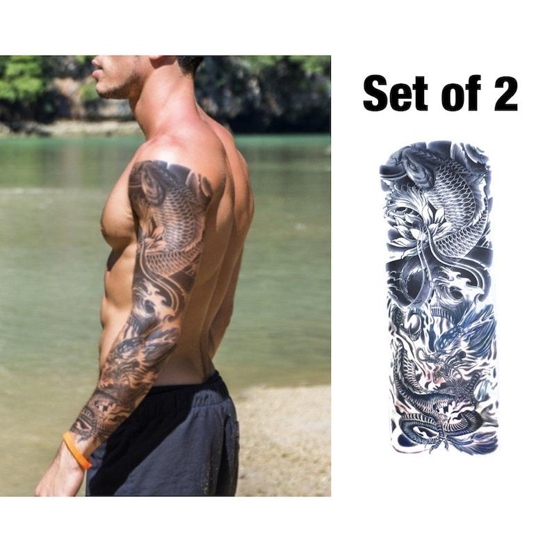 Koi Temporary Tattoo Sleeve For Men Fake Tattoo Sleeve Full Etsy