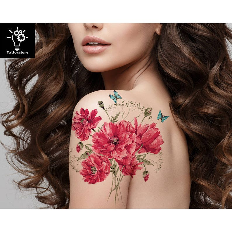 Watercolor Flower Tattoo Watercolor Temporary Tattoo  78510cec39c1
