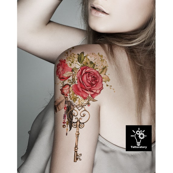 Rose Temporary Tattoo Large Floral Tattoo Sleeve Rose Tattoo Watercolor Flower Tattoo Peony Tattoo Bohemian Tattoo Faux Tatouage Temporaire
