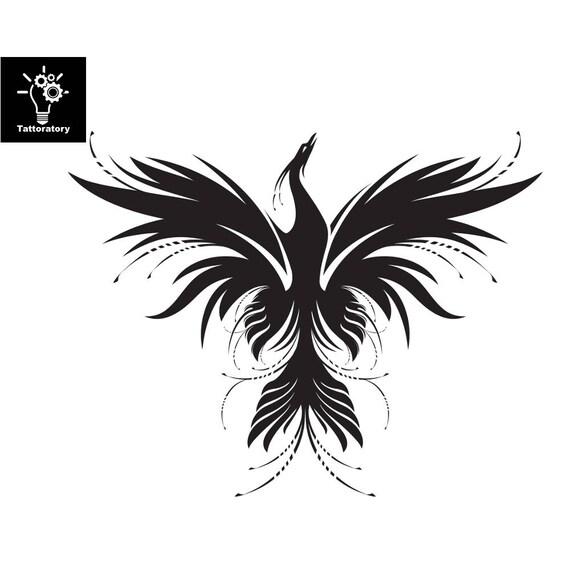Feniks Tymczasowy Tatuaż Phoenix Tatuaż Podróbka Tatuaż Chwilowy Tatuaż Udo