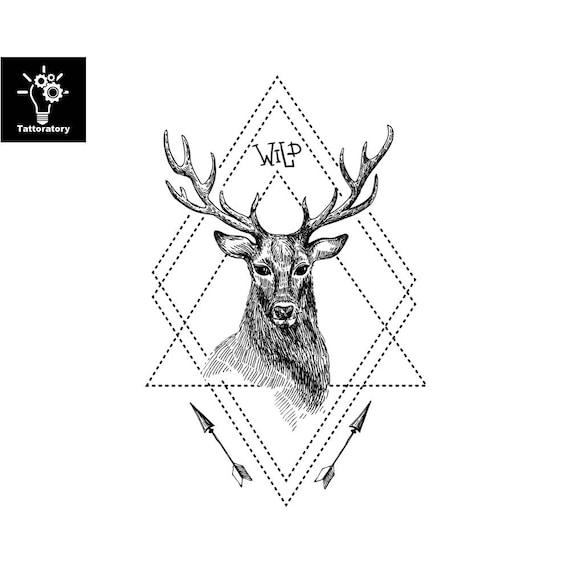 Geometryczny Fałszywy Geometryczny Tatuaż Jelenia Tatuaż Etsy