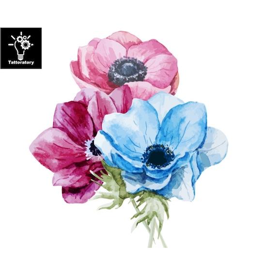 Floral Tatouage Temporaire Fleur Aquarelle Tatouage Anemone Etsy