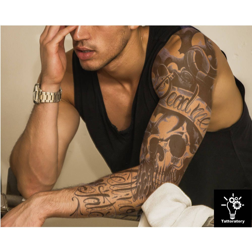 Black Man Tattoo Sleeve: Men Temporary Tattoo Sleeve Men Fake Tattoo Sleeve Black