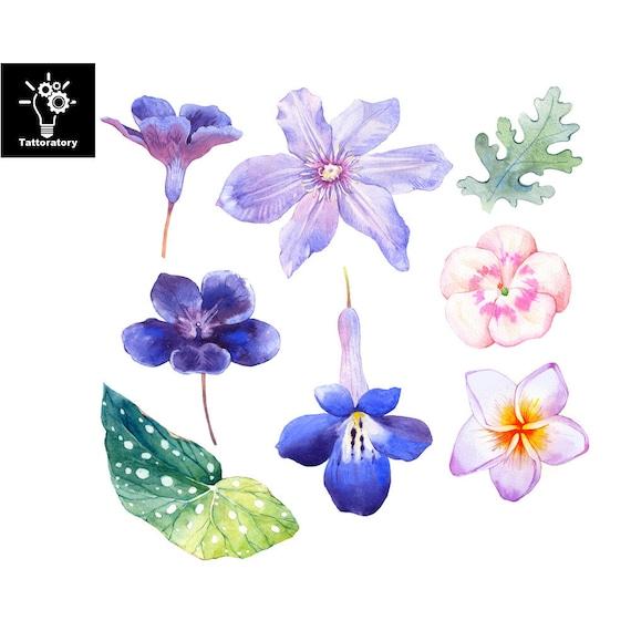 Iris Tatouage watercolor flower temporary tattoo watercolor tattoo flower | etsy
