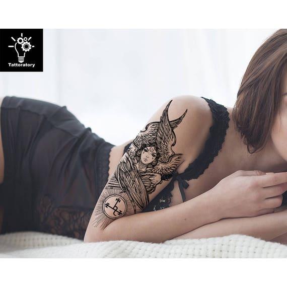 Anioły Tymczasowy Tatuaż Anioł Podróbka Tatuaż Ramię Tatuaż Tył Tatuaż