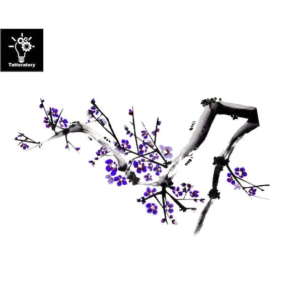 Aquarelle Fleur Tatouage Temporaire Fleur Tatouage Aquarelle Etsy