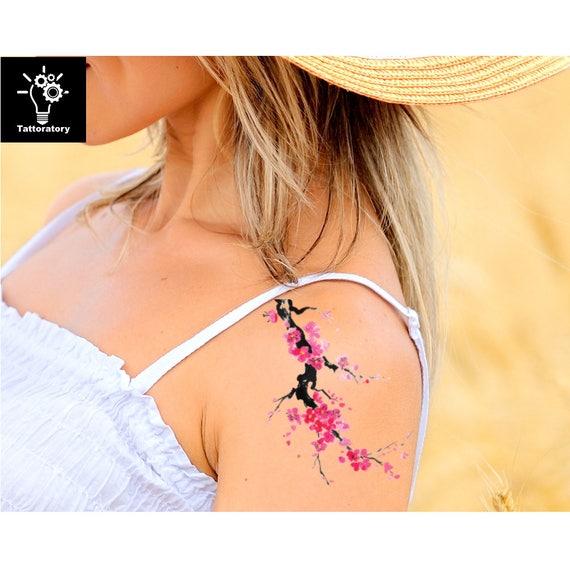 Kersenbloesem Tattoo Watercolor Tattoo Sakura Tattoo Aquarel Etsy