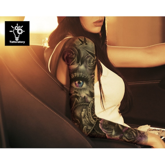 Women Temporary Tattoo Sleeve Floral Fake Tattoo Sleeve Flower Etsy