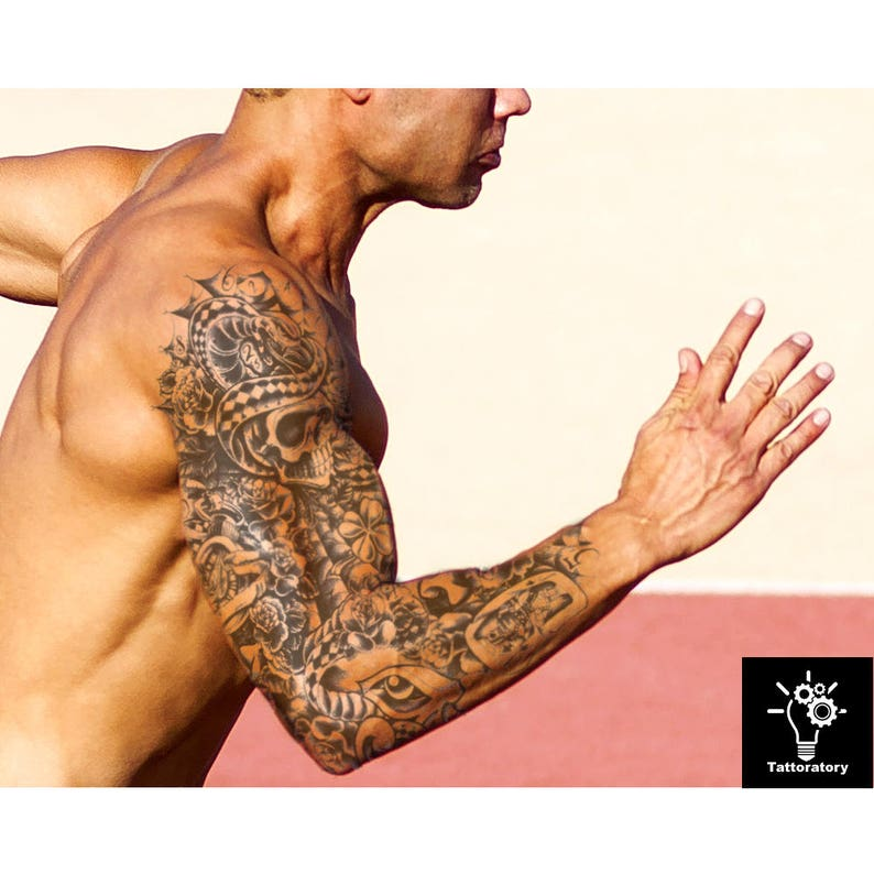 1a828dd95 Men Temporary Tattoo Sleeve Skull Tattoo Full Arm Tattoo Men   Etsy