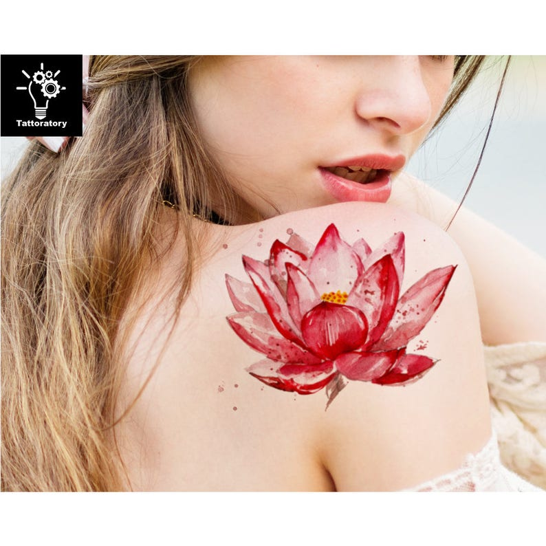 Lotus Lotus Tatouage Temporaire Tattoo Lotus Faux Tatouage Etsy