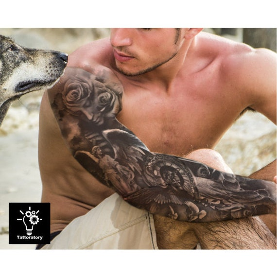 Hommes Tatouage Temporaire Manche Christian Tattoo Bras Etsy
