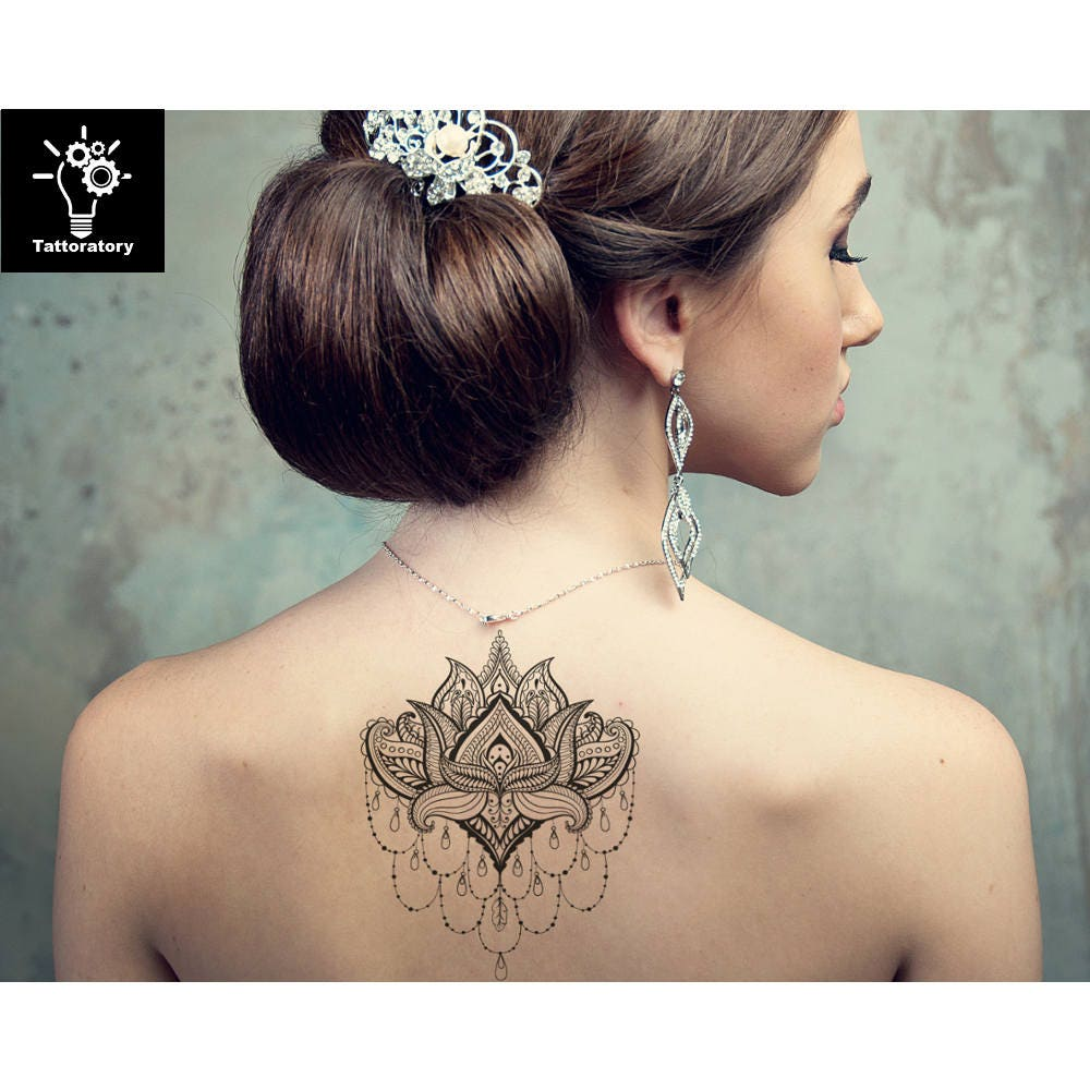 lotus tatouage temporaire lotus tattoo lotus faux tatouage etsy. Black Bedroom Furniture Sets. Home Design Ideas