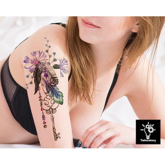 Plume Tatouage Temporaire Aquarelle Plume Tatouage Fleur Etsy
