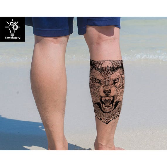 Loup Tatouage Temporaire Loup Tatouage Loup Faux Tatouage Etsy