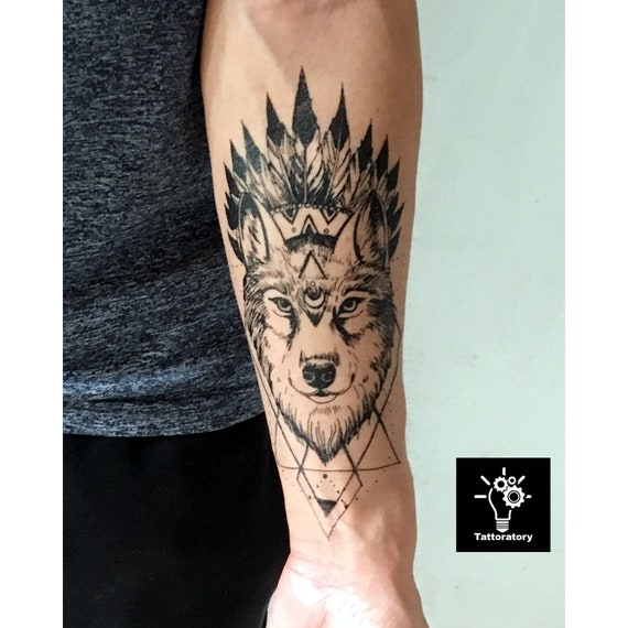 Geometric Wolf Tattoo Forearm Tattoo For Men Half Sleeve Tattoo Wolf Fake Tattoo Sleeve Wolf Temporary Tattoo Geometric Tattoo Forearm