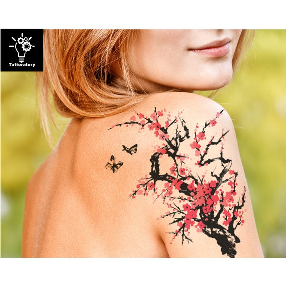 Akwarela Tymczasowy Tatuaż Akwarela Tatuaż Wiśnia Kwiat Tatuaż Japoński Tymczasowy Tatuaż Sakura Tatuaż Drzewo Tatuaż Ramię Tatuaż