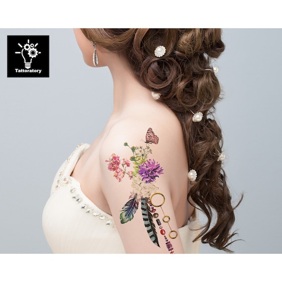 Aquarelle Fleur Tatouage Temporaire Grand Tatouage Floral Etsy