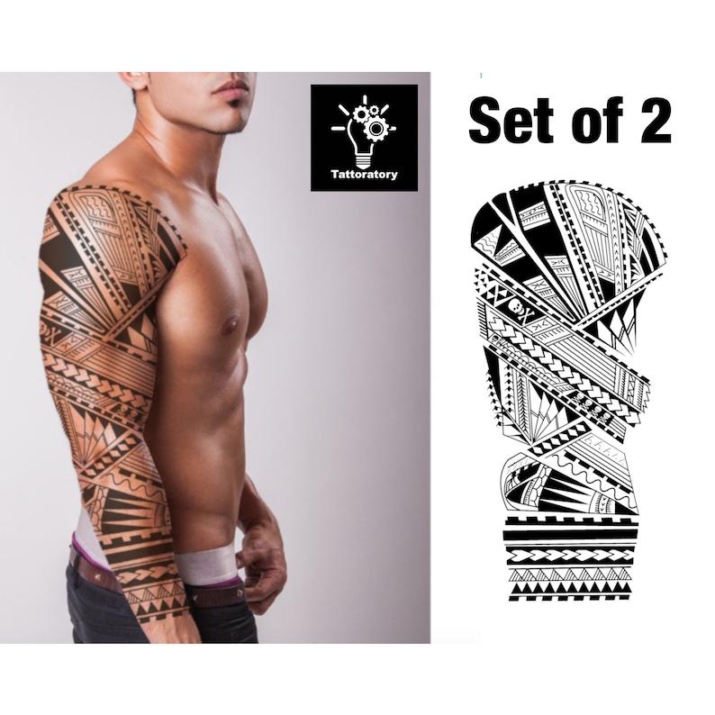 986f2633b Men Temporary Tattoo Sleeve Polynesian Tattoo Sleeve Maori | Etsy