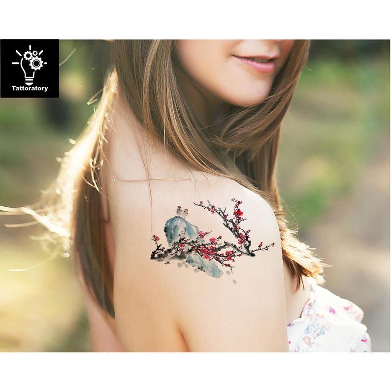 e912140821770 Watercolor Temporary Tattoo Watercolor Tattoo Cherry Blossom   Etsy