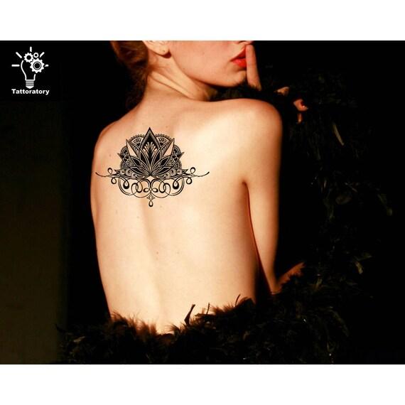 Lotus Temporare Tattoo Grosse Lotus Tattoo Lotus Gefalschte Etsy