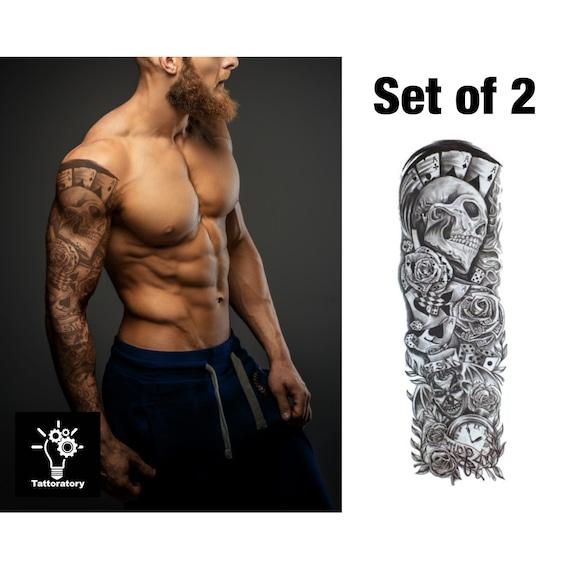 Men Temporary Tattoo Sleeve Set Of 2 Fake Tattoo Sleeve For Etsy