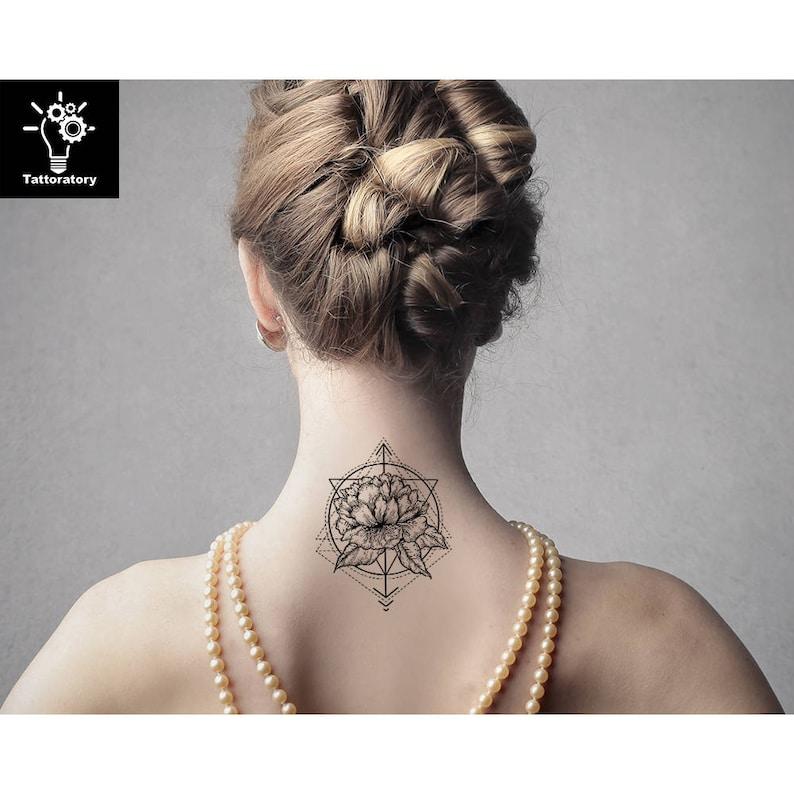 Pivoine Tatouage Temporaire Pivoine Tattoo Fleur Geometrique Etsy