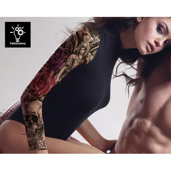 Femmes Tatouage Temporaire Avec Manche Faux Tatouage Manches Etsy