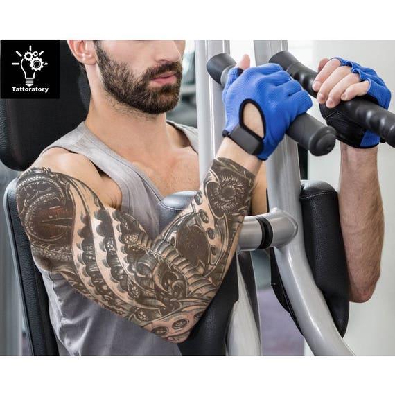 temporary tattoo sleeve tatouage temporaire homme steampunk. Black Bedroom Furniture Sets. Home Design Ideas