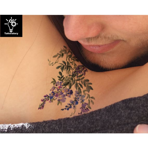 Watercolor Flower Temporary Tattoo Flower Tattoo Watercolor Etsy