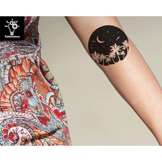 Moon Tymczasowy Tatuaż Księżyc Tatuaż Moon Fake Tatuaż Roślina Tatuaż Tatuaż Roślin Tatuaż